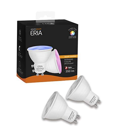 AduroSmart Foco LED inteligente GU10, luz blanca y de color regulable, equivalente a 35 W, entre otros, compatible con AduroSmart, SmartThings, Philips Hue y Alexa (2 unidades)