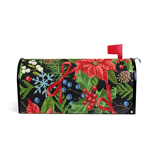Arbre de Noël Poinsettia Bienvenue magnétique Boîte aux lettres Boîte aux lettres Coque stratifiées, flocon de neige Mistletoe Berry Taille standard Makover Mailwrap Garden Home Decor 52.6x45.8cm multicolore