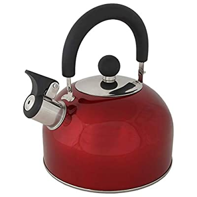 Lily's Home 2 Quart Stainless Steel Whistling Tea Kettle, the Perfect Stovetop Tea and Water Boilers for Your Home, Dorm, Condo or Apartment. Red