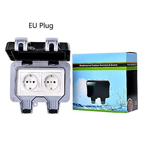 IP66 EU Outdoor waterdichte stopcontactdoos Badkamer Waterdichte wandschakelaar Zwart EU