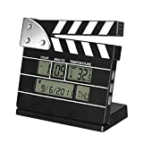Clapper Board Digital Alarm Clock, Movie Clock, Vintage Retro Movie Clock, Temperature Displays Calendar Date Time Reminder Electronic Desk Clock for Bedroom Kitchen Office 12/24H (Black)