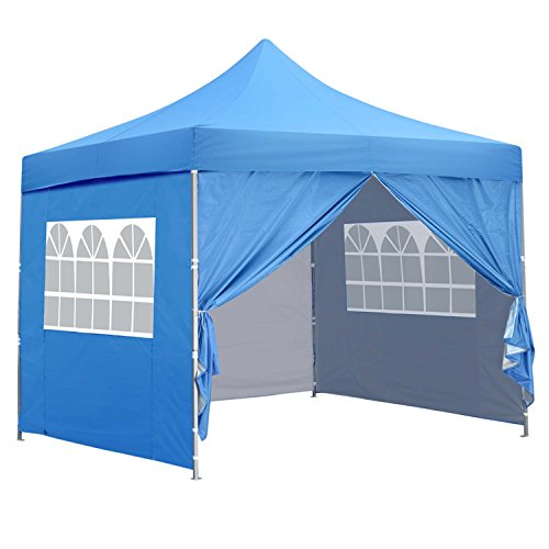 pop up shade tents 10x10 Ft Outdoor Pop Up Canopy Tent with 4 Removable Side Walls Instant Gazebos Shelters Blue