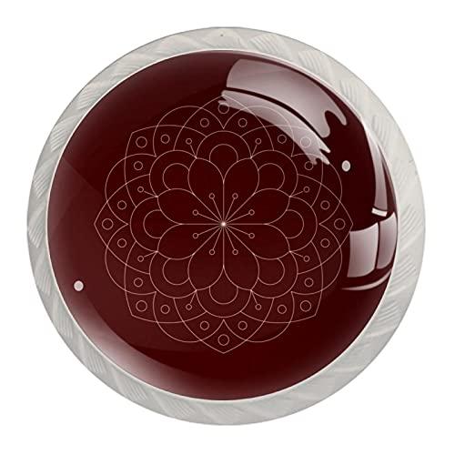 Pomos geométricos florales de cristal rojo para cajones de aparador en forma de diamante, tiradores de cristal con tornillos, 4 unidades