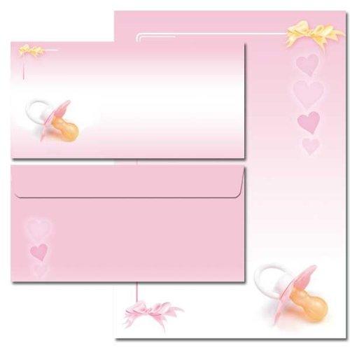 40-tlg. Motivpapier Komplett-Set BABY SCHNULLER (ROSA) 20 Blatt Briefpapier + 20 passende Briefumschläge DIN LANG ohne Fenster