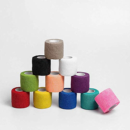 Sports Bandage Self Adhesive for Ankle - Wrap Breathable Athletic Tape 12 Rolls, 1 Inch X 5 Yards Non-Woven Elastic Vet Wrap for Wound Care, First-Aid, Pets, in 12 Colors