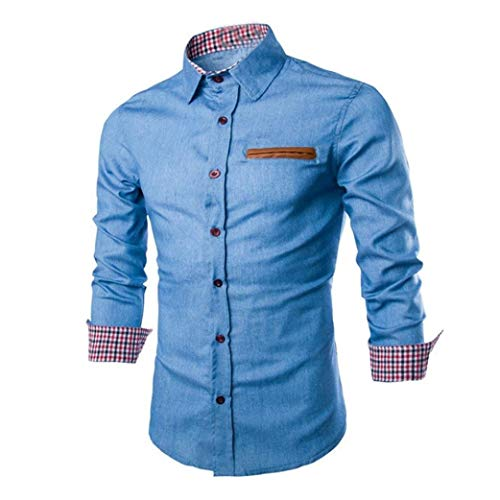 Heren shirt Nner mannen jeanshemd rooster lange mouwen Chic Business Slim Fit Vintage Cowboy blouse tops overhemden herfst