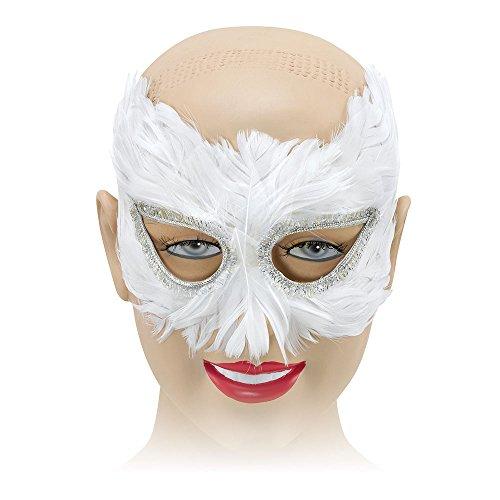 Bristol Novelty Antifaz para mujer, antifaz hecho de plumas, de color blanco y talla única, modelo EM042