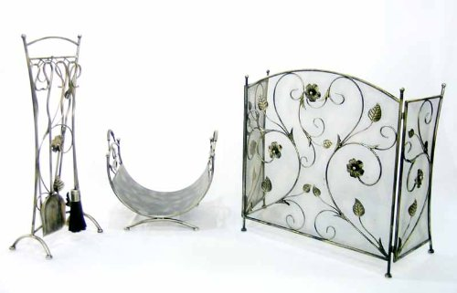 H. Packmor GmbH haardset haardset vonkenrooster houtopslag met bloemenmotief in jeugdstijl
