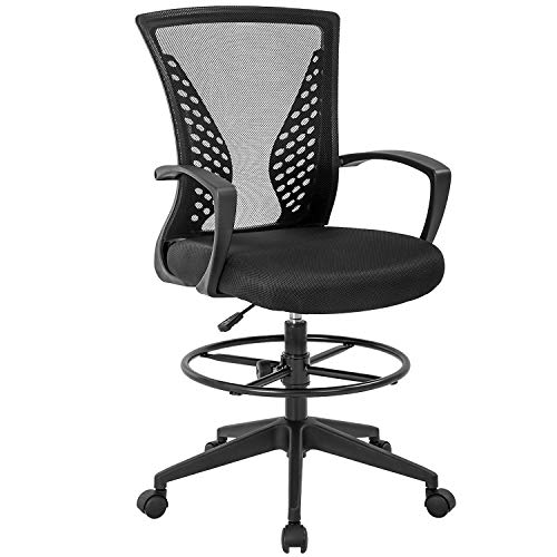 Drafting Chair Tall Office Chair Standing Desk Chair Adjustable Height with Arms Foot Rest Back Support Rolling Swivel Desk Chair Mesh Drafting Stool for Adults(Black)