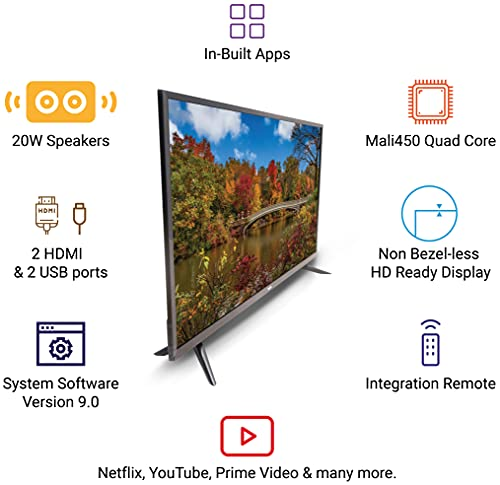 Huidi 98 cm (40 Inches) HD Ready Smart LED TV HD42D1M18 (Black) (2021 Model)