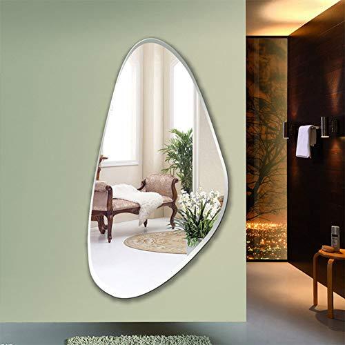 YXZN Espejos de Pared Espejos Espejo En La Pared Espejo De Plata Irregular Espejo De Vanidad Sin Marco Espejo De Vanidad del Dormitorio Baño Simple Tienda De Ropa Espejo Decorativo