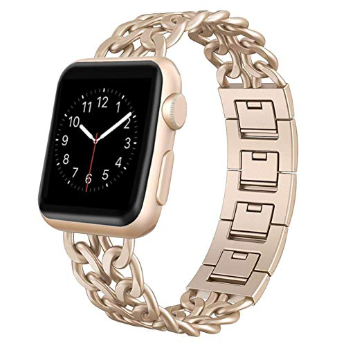 AmzAokay Replacement bands Compatible for Apple Watch 38mm 42mm Stainless Steel Metal Cowboy Chain Strap for Apple Watch 40mm 44mm Series 5 4 3 2 1 Sport and Edition(Gold Matches Series 2&1,38mm/40mm)