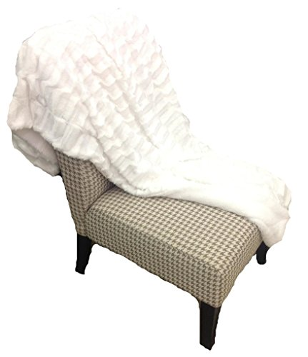 EMPIRE Deco Super Soft Luxury Blanket Faux Fur Sherpa Reversible Solid Throw (Off White)