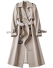 ZDJH Damesmantel herfst en winter lange mouwen eenkleurig lange warme jas winddichte jas outdoorjas elegante vrouwen Britse vintage jas