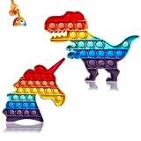 Kadunala - Lote de 2 discos de dinosaurio con forma de unicornio pop fidget para la ansiedad, adultos y niños, antiestrés