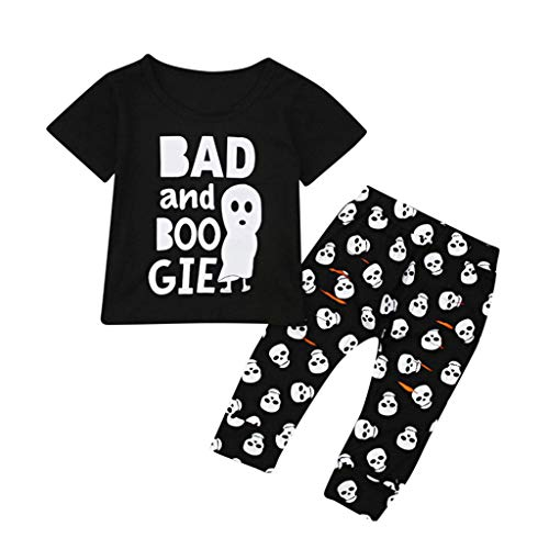 Find Bargain FengGa Toddler 2PCS Halloween Baby Cartoon Letter Print Top T-Shirt+Pant Set Outfit Bla...