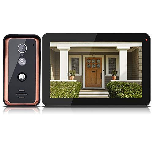 9 Inch Timbre Inteligente inalámbrico - Sistema de intercomunicación con videoportero IP - Sistema de Entrada al Timbre + Cámara analógica HD 1000TVL / IR Cut visión Nocturna/Control de App(EU)