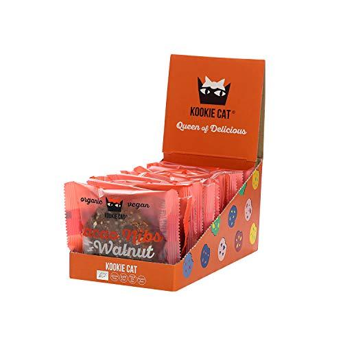 Kookie Cat Kakaonibs & Walnuss Einzeln - vegane Cookies einzeln verpackt, glutenfrei, sojafrei, Bio, Cashew & Hafer - 12 X 50g Multipack