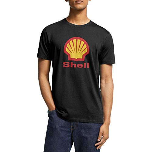 WLGUO Men's Tees Casual Short Sleeves Shell-Gasoline-Gas-Station-Logo- Crewneck Shirt for Workout