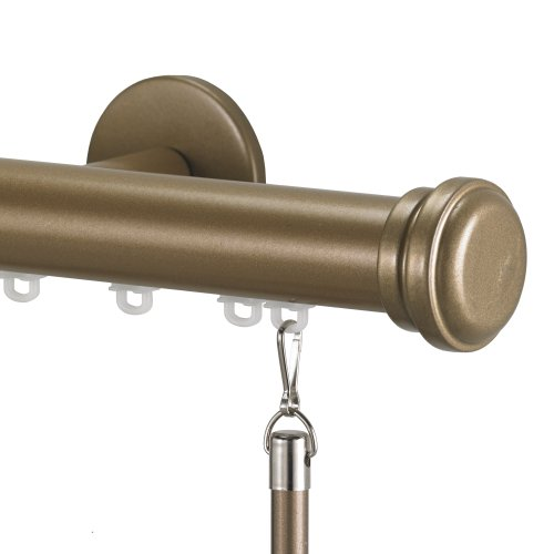Art Décor Tekno 25 Decorative Traverse Curtain Rod with Empire Finial, 96-Inch, Distressed Wood