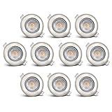 B.K.Licht LED Einbauleuchten schwenkbar ultra flach inkl. 10 x LED-Modul 5W 450lm 3000K warmweiß Einbaustrahler Matt Nickel IP23