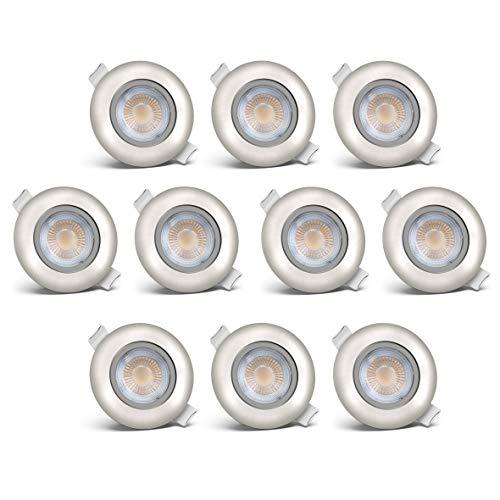 B.K.Licht LED Einbauleuchten schwenkbar ultra flach Ø68 mm Lochbohrung inkl. 10 x LED-Modul 5W 450lm 3000K warmweiß Einbaustrahler Matt Nickel IP23