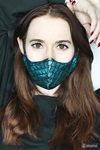 Gesichtsmaske *Mermaid* - Mundschutz | Behelfsmaske | Cosplay | Meerjungfrau | Schimmernde Schuppen