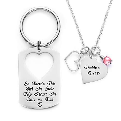 Melix Halskette mit Anhänger, Geschenk für Vater, Tochter, Schlüsselanhänger, Schmuck, Aufschrift Daddys Girl, There's This Girl Who Stole My Heart She Calls Me Daddy