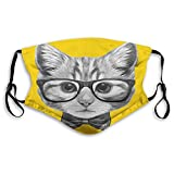 Comfortable Printed mask,Animal, Sketchy Hand Drawn Design Baby Hipster Cat Kitten with Glasses Image Print,Grey Mustard,Windproof Facial decorations for Teens Size:S