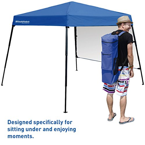 EasyGoProducts Portable Backpack Tent - 7'x7' Base with 6'x6' Awning Top – Lightweight for Hiking, Camping, Beach, Sports, Baby Tent and Family Outings - Pop Up Canopy