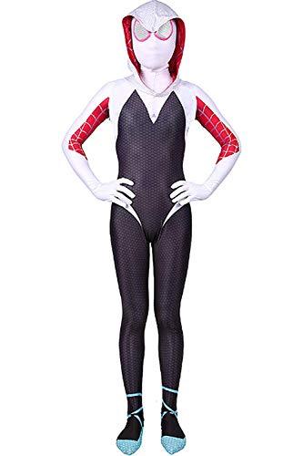 Kids Toddler Spider Verse Miles Morales Gwen Jumpsuit Bodysuit Black Spider Tights Zentai Costume (Gwen, Child M/110-120 cm)