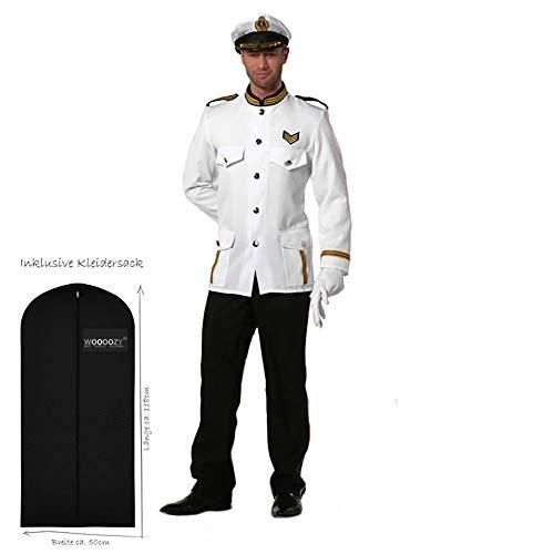 WOOOOZY Herren-Kostüm Marine-Offizier, Gr. 56 - inklusive praktischem Kleidersack