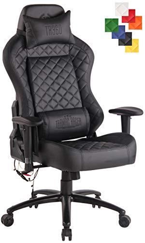 CLP Bürostuhl Rapid XM Mit Kunstlederbezug Und Massagefunktion I Schreibtischstuhl Mit Verstellbaren Armlehnen Und Beheizbarem Sitzbereich schwarz/schwarz