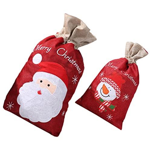 SOIMISS 2 Bolsas de Regalo de Navidad Bolsas de Dulces de Navidad Bolsas con Cordón para Envolver Regalos