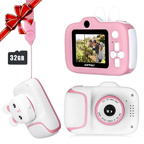 COTOLI Kids Camera HD Digital Video Cameras for Toddler,Best Birthday Gifts for Girls, Kids Digital camera with 2 Inch IPS Screen and rabbit lens cap for 3-10 Year Old Girls-Pink(32G SD Card Included)