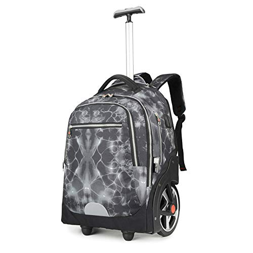 FREETT Unisex Traveling Backpack, Trolley Backpack with Wheeled Laptop Compartment and USB Charging Port, Waterproof Trolley Suitcase for Boarding, Student, 51 * 34 * 20 cm,Gray