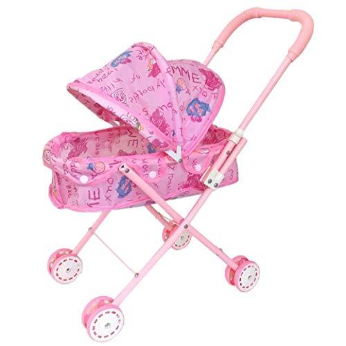 Cochecito de muñeca plegable con capucha adorable cochecito de muñeca ligero rosa bebé juguete cochecito para niños bebé niños pequeños productos del hogar