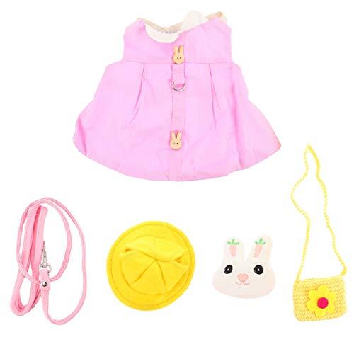 POPETPOP 5pcs Rabbit Vest Harness and Leash Set Bunny Dress and Warm Hat Ferret Guinea Pig Small Animals Pet Costume Accessories (Pink S)