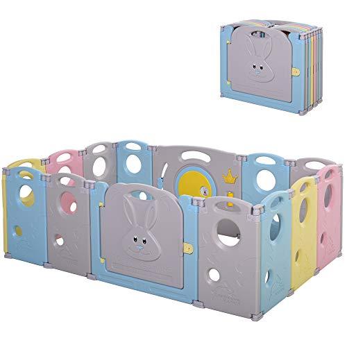 HOMCOM Parque Infantil Bebé de 14 Paneles Corralito Plegable con Puerta y juegos para Niños de +6 Meses Interior y Exterior 156x154x59 cm Multicolor
