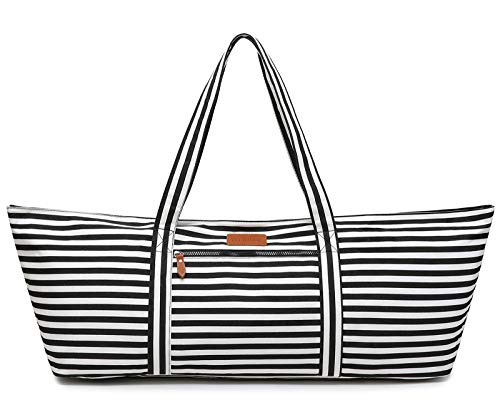 ELENTURE Large Yoga Mat Bag, Exercise Mat Bag with Pockets and Yoga Mat Strap for Yoga Mat Thick (Stripe)