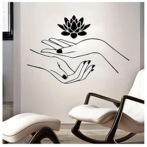KBIASD Spa belleza salón de uñas masaje pared pegatina flor de loto pared calcomanía extraíble impermeable arte murales dormitorio papel tapiz decoración 57x37cm