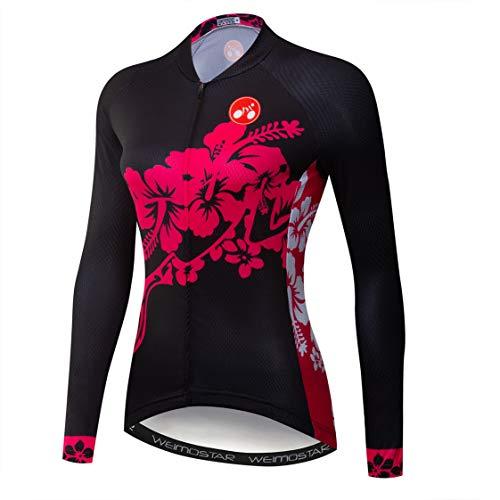 Weimostar - Maillot de ciclismo de manga larga para mujer, color rojo...