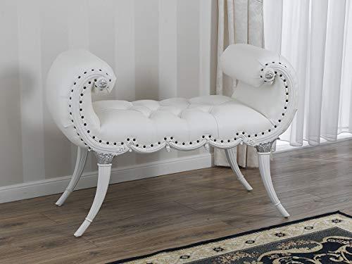 SIMONE GUARRACINO LUXURY DESIGN Banquette Bout de lit Eva Style Baroque Moderne Blanc laqué et Feuille Argent Similicuir Blanc Boutons Crystal SW