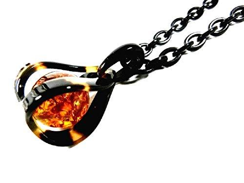 【創業145年べっ甲の菊池セール中】 本べっ甲ペンダント琥珀玉(16mm)入り大−05T【全商品セール中】