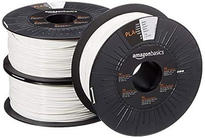 Amazon Basics PLA 3D Printer Filament, 1.75mm, White, 1 kg Spool, 3 Spools
