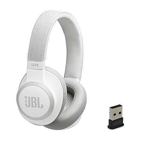 JBL Live 650 BT NC Over-Ear Noise Canceling Wireless Bluetooth Headphone Bundle with Plugable USB-BT4LE USB 2.0 Bluetooth Adapter - White