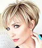 PHOCAS Pixie Cut Wigs Short Stylish Fluffy Layer Wig None Lace Replacement Wig with Bangs for Women Brown Mix Blonde Wig Short