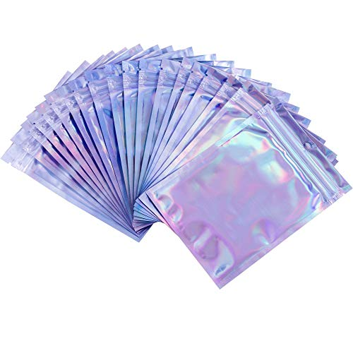 """Mellbree 100PCS Holographic Bags, Double Sided Reusable Zip Lock Sealing Smell Proof Bags Foil Pouch Bags (5""""x 7"""")"""