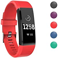 ATETION Pulsera de Actividad Inteligente, Impermeable Reloj Inteligente con Pulsómetro Podómetro Calorias Monitor de Sueño, Pulsera Actividad Smartwatch para Hombre Mujer Niños (Rojo)