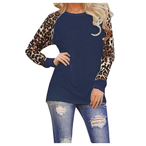 Damen Pulli Langarm T-Shirt Leopard Druck Lässige Casual Oberteile Oversized Rundhals Herbst Winter Sports Pullover Große Größen Hoodie Warmes Starkes Round Neck Tops S-5XL
